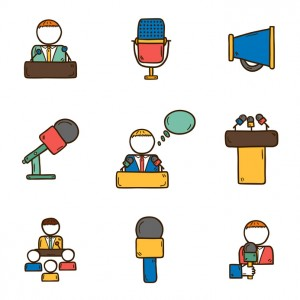 Set of cute hand drawn colorful icons on public speaking theme with people, microphones, speakers, tribunes for business presentation, seminar or conference for your design
